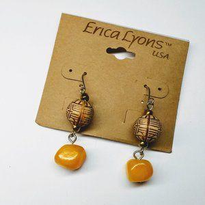 Erica Lyons Drop Wood and Stone Bead Earrings